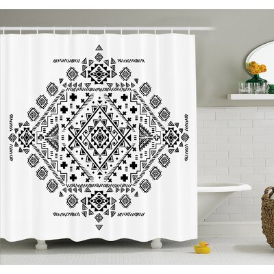Mexican Ancient Maya with Prehistoric Geometric Form Triangles and Lines Print Shower Curtain Set Size: 70 H x 69 W