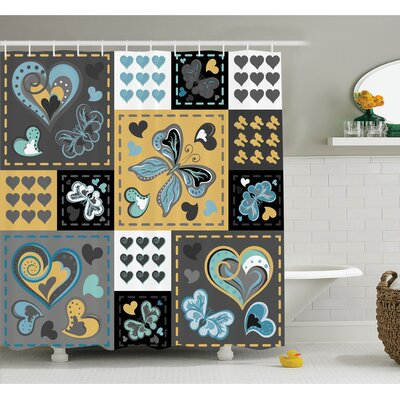 Farm House Dark Textured Vintage Ornament Heart and Butterfly Motif in Mix Retro Design Shower Curtain Set Size: 84 H x 69 W