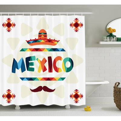 Mexican Traditional Aztec Motifs and Sombrero Straw Hat Moustache Graphic Shower Curtain Set Size: 84 H x 69 W
