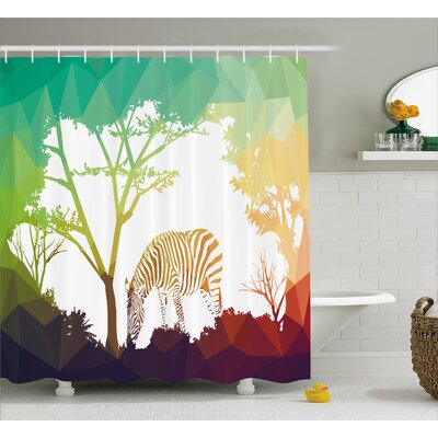 Wildlife Digital Zebra Figure in Fractal Display Vivid Colors A Look at Kenya Illustration Shower Curtain Set Size: 70 H x 69 W