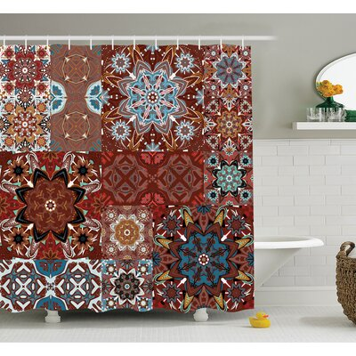Farm House Classic Victorian Floral Authentic Motives and Ethnic Indian Mandala Pattern Shower Curtain Set Size: 84 H x 69 W