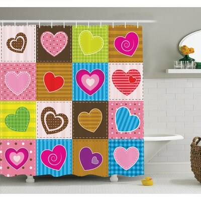 Farm House Patchwork Themed Cute Heart Shaped Figures with Varying Backgrounds Love Artwork Shower Curtain Set Size: 84 H x 69 W