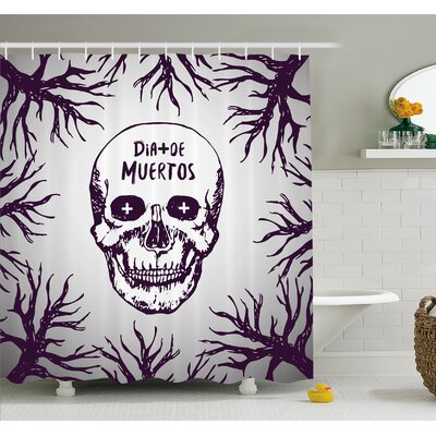 Mexican Quote with Spooky Skull Head among Tree Branches Calaveral Carnival Graphic Shower Curtain Set Size: 70 H x 69 W