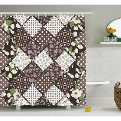 Farm House Patchwork with Polka Dots Hibiscus Flowers and Authentic Rounds Decor Shower Curtain Set Size: 70 H x 69 W