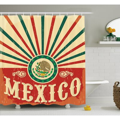 Mexican Pop Art Style Calligraphy with Tribal Classic Icon on Grunge Image Shower Curtain Set Size: 84 H x 69 W