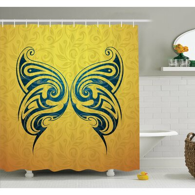 Tattoo Head of Lion with Feather Art on His Mane Native American Design Shower Curtain Set Size: 84 H x 69 W