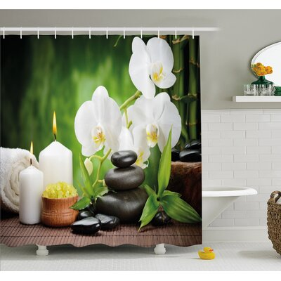 Spa Zen Stones with Orchid and Candles Plants at the Background Shower Curtain Set Size: 84 H x 69 W