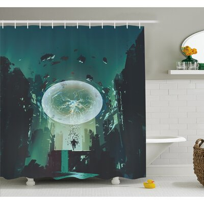 Lightning Ball and Human Building Dark Feeling Featured Comics Art Shower Curtain Set Size: 75 H x 69 W