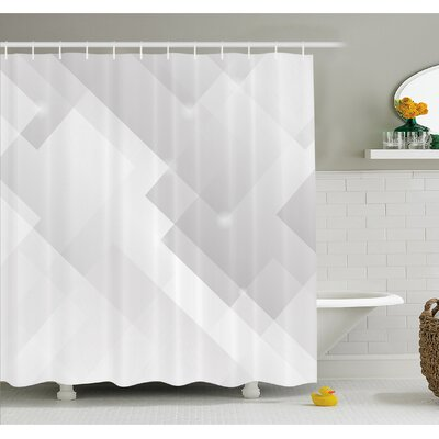 Abstract Light Tones Featured Perspective Stripes Reflection Rays Artisan Artwork Shower Curtain Set Size: 84 H x 69 W