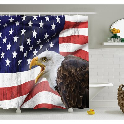 American Flag Eagle on Foreground Banner Pride History Solidarity Martial Identity Symbol Shower Curtain Set Size: 70 H x 69 W