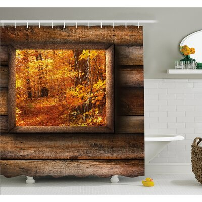 Fall Foliage View from Square Shaped Wooden Window inside Cottage Photo Shower Curtain Set Size: 75 H x 69 W