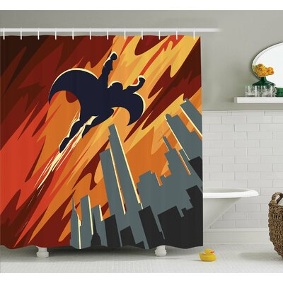 Silhouette of Superhero over Apartments in Sky Night Fiction Comic Image Shower Curtain Set Size: 75