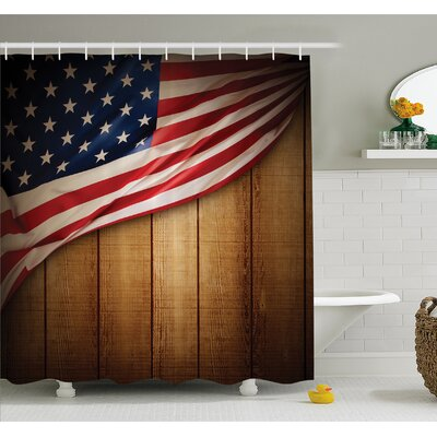 USA Design on Vertical Lined Retro Wooden Rustic Back Glory Country Image Shower Curtain Set Size: 70 H x 69 W