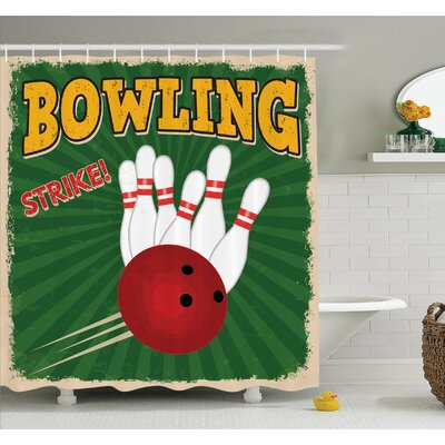 Bowling Balls and Pins Design Western Sport Hobby Leisure Winner Artsy Art Print Shower Curtain Set Size: 70 H x 69 W