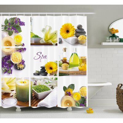 Spa Happy Peaceful Spa Day with Flowers Candles and Herbal Oils Shower Curtain Set Size: 70 H x 69 W