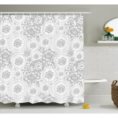 Medieval Slavic Monochrome Rose Petals Florets Ethnic Fragrance Artwork Shower Curtain Set Size: 84 H x 69 W