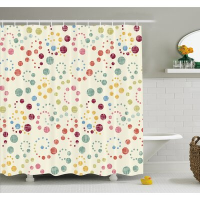Grunge Polka Dots Spots Backdrop Motif Retro Nostalgic Aesthetic Image Shower Curtain Set Size: 70 H x 69 W