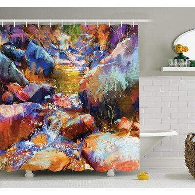 Waterfall with Rock Stones in the River Acrylic Stylized Digital Picture Shower Curtain Set Size: 70 H x 69 W