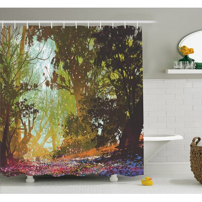 Natural Beauty at Park in Spring with Shadow Falling Leaves Flower Paint Shower Curtain Set Size: 70 H x 69 W