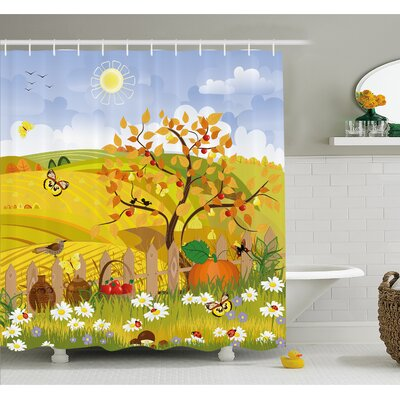 Fall Rural Scene with Sun Butterflies Birds and Daisies on Field Kid Nursery Concept Shower Curtain Set Size: 84 H x 69 W
