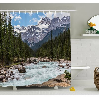 Americana Limestone Creek in the Alberta Cold Winter Time Adventure Image Print Shower Curtain Set Size: 84 H x 69 W