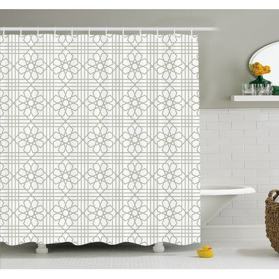 Arabesque Pattern Mosaic Tiles with Moroccan Floral Traditional Symmetric Artwork Shower Curtain Set Size: 70 H x 69 W