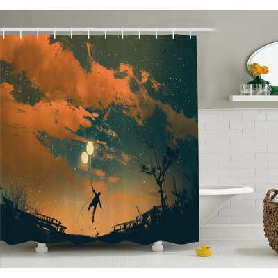 Fantasy Art House Balloons in the Sky Starry Night Lightness of Being Shower Curtain Set Size: 84 H x 69 W
