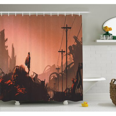 Cartoon Hiker Looks at Abandoned City Urban Lonely Girl Image Shower Curtain Set Size: 84 H x 69 W