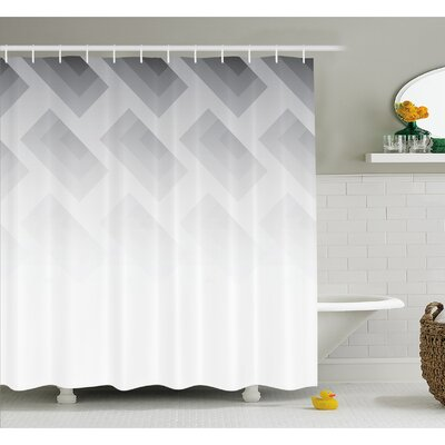 Blur Poster Display with Simplistic Square Shapes Contemporary Trendy Illusion  Shower Curtain Set Size: 84 H x 69 W