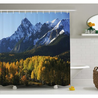 Snow Village Mountain Retreat Colorado Park Pine Region Peak Shower Curtain Set Size: 70 H x 69 W