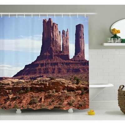 Famous Monument Valley Grand Canyon Rocky Cliffs USA Arizona Print Shower Curtain Set Size: 75 H x 69 W