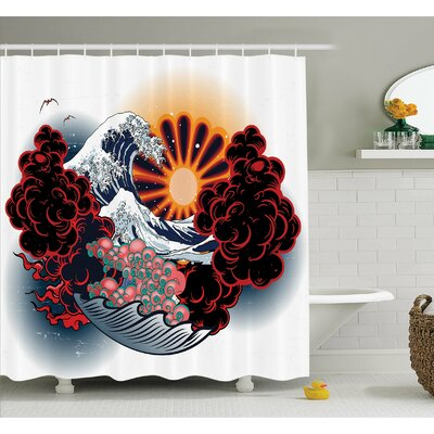Tattoo Brave Native American Warrior Chief of Tribe with Noble Horse Shower Curtain Set Size: 70 H x 69 W