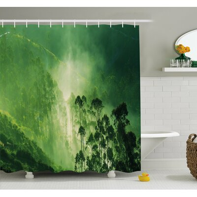 Hazy Fall Fog Vibrant Timberland on Mystic Eco Sierra Nevada Art Photo Shower Curtain Set Size: 70 H x 69 W