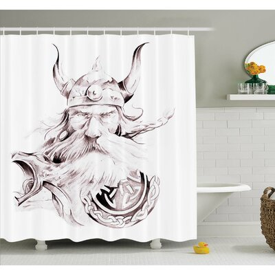 Tattoo Head of Wolf the Fierce Warrior Big Dog of the Forest Winter Themed Image Shower Curtain Set Size: 84
