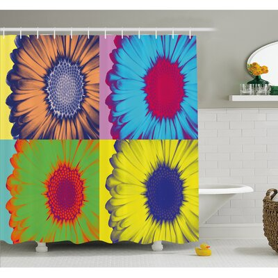 Pop Art Inspired Colorful Kitschy Daisy Flower Hard-Edged Western Design Shower Curtain Set Size: 84 H x 69 W