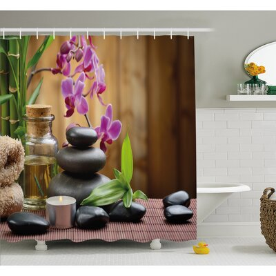 Spa Warm Welcoming Reception Big Stones Candles Scent Flowers Print Shower Curtain Set Size: 70 H x 69 W