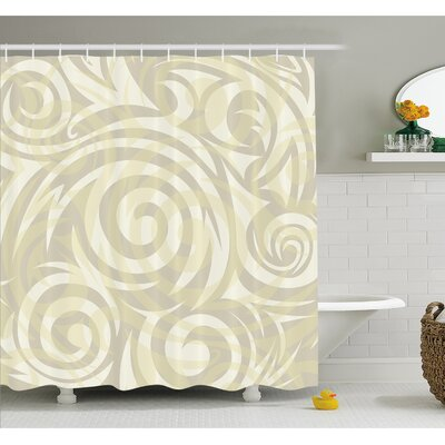 Vintage Swirling Floral Design with Authentic Faded Natural Effects Shower Curtain Set Size: 70
