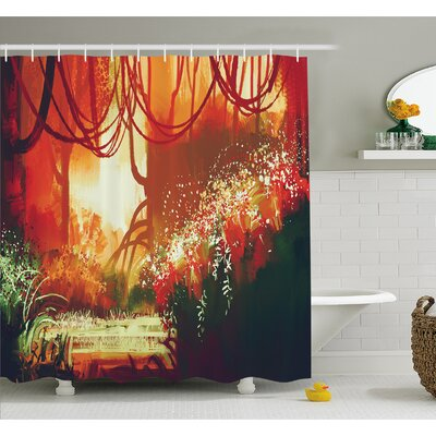 Modern Autumn Forest with Blur Special Effects in Vivid Tones Shower Curtain Set Size: 70 H x 69 W