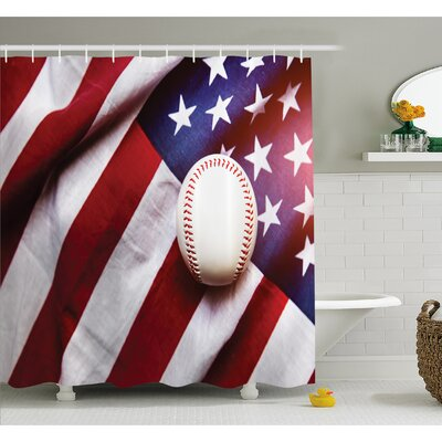 Baseball Soccer Sports Theme Activity Leisure Game Hobby Culture Artwork Shower Curtain Set Size: 84 H x 69 W