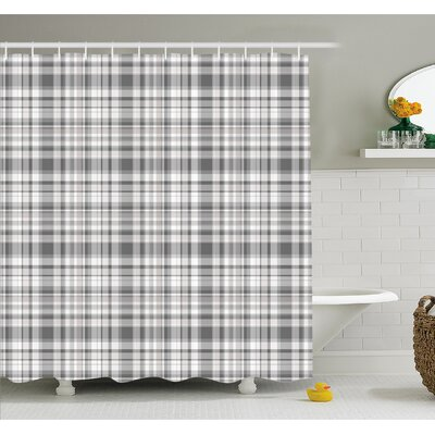 Pattern with Modified Stripes Crossed Horizontal and Vertical Lines Forming Squares  Shower Curtain Set Size: 75 H x 69 W