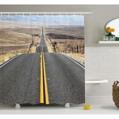Pacific Coast Highway on the Road Trip to Endless Desert Western Photo Shower Curtain Set Size: 75 H x 69 W