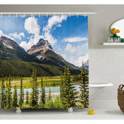 Canadian Cliffs High Tops and Ranges in Spring Day Panorama Image Shower Curtain Set Size: 75 H x 69 W
