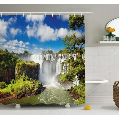 Majestic Waterfall River Argentinean Falls Natural Wonders Scenery Shower Curtain Set Size: 84 H x 69 W