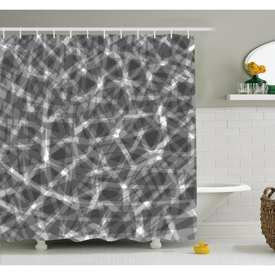 Grunge Haze Digital Display with Fractal Pieces Parts Lines Contemporary Bents Shower Curtain Set Size: 70 H x 69 W