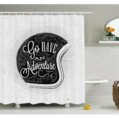Motorcycle Figure with Adventure Quote and Ornate Lines Contemporary New Graphic Shower Curtain Set Size: 75 H x 69 W