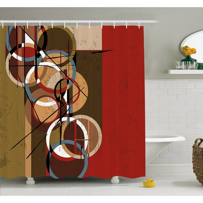 Retro Surreal Abstract Circular and Square Shaped Art Lines on Murky Base Shower Curtain Set Size: 84 H x 69 W