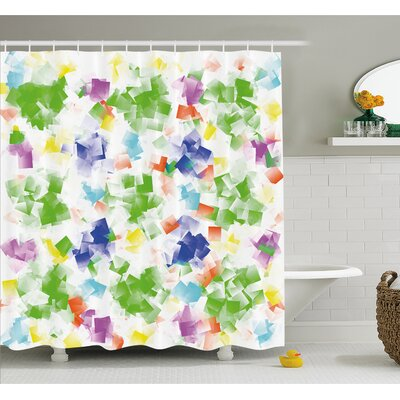 Decorative Hallucinatory Fractal Morphing Brushstroke Diffraction Art Work Shower Curtain Set Size: 70 H x 69 W