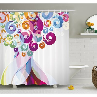 Whirlwind Textured Vortex Concentric Spirals Fantastic Artwork Shower Curtain Set Size: 84 H x 69 W