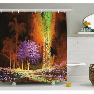 Digitally Saturated Tropical Scene in Extreme Haze Tones Exotic Artwork Shower Curtain Set Size: 75 H x 69 W