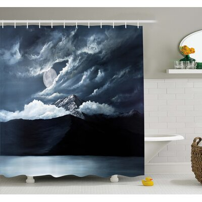 Moon over Lake and Hills with Dark Storm Clouds Twilight Dawn at Night Shower Curtain Set Size: 84 H x 69 W